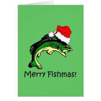 Lustiges Fischen Weihnachten Grußkarte