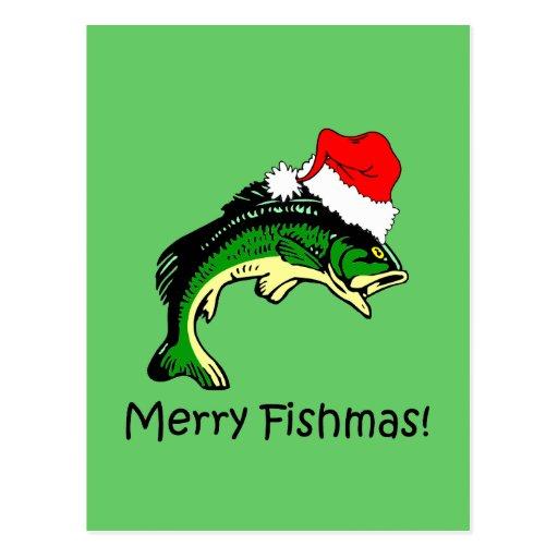 Lustiges Fischen Weihnachten Postkarten