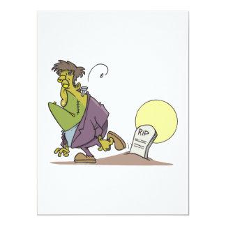 lustiges frankenstein im Graveyard-Cartoonentwurf Einladungskarte