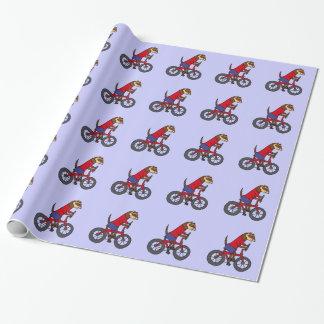 Lustiges Frettchen, das rotes Fahrrad fährt Geschenkpapier