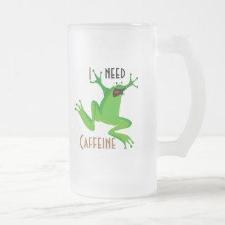 lustiges Frosch-ICh Bedarf Koffein Mattglas Bierglas