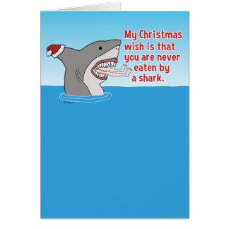 Lustiges gegessen durch Haifisch-Weihnachten Karte
