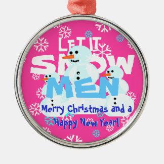 Lustiges gelassen ihm schneien rundes silberfarbenes ornament
