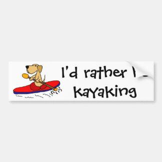 Lustiges gelbes Kayaking Labrador retriever Autoaufkleber