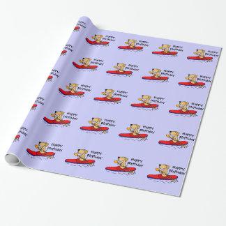 Lustiges gelbes Kayaking Labrador retriever Geschenkpapier