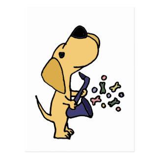 Lustiges gelbes Labrador retriever, das Saxophpne Postkarte