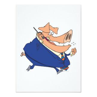 lustiges Geschäft Boorschwein-Cartoon Individuelle Einladungen