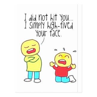Lustiges Gesicht hohe fünf Postkarte