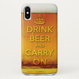Lustiges Getränkbier und machen weiter iPhone X Hülle