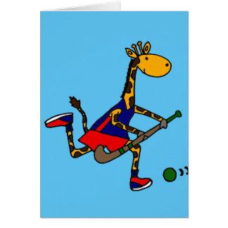 Lustiges Giraffen-Spielfeld-Hockey Grußkarte