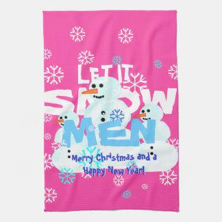 Lustiges Girly Rosa ließ es schneien MännerSnowmen Handtuch