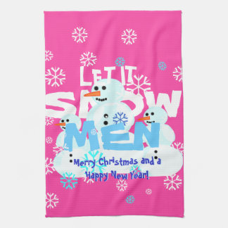 Lustiges Girly Rosa ließ es schneien MännerSnowmen Handtücher