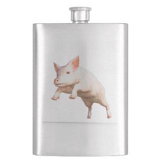 Lustiges großes junges Schwein, das hoch springt Flachmann