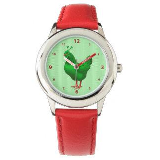 Lustiges grünes Marsalien-Huhn Uhr