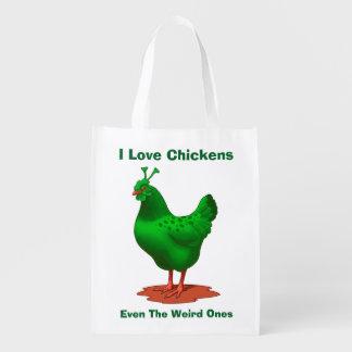 Lustiges grünes Marsalien-Huhn Wiederverwendbare Einkaufstasche