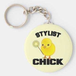 Lustiges Hairstylist-Küken Standard Runder Schlüsselanhänger