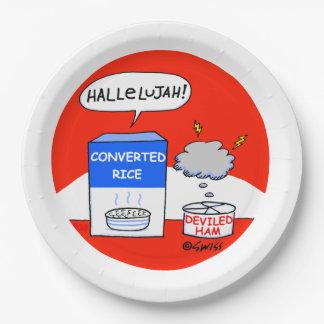 Lustiges Halleluja-Cartoon-Kirchen-Picknick Pappteller