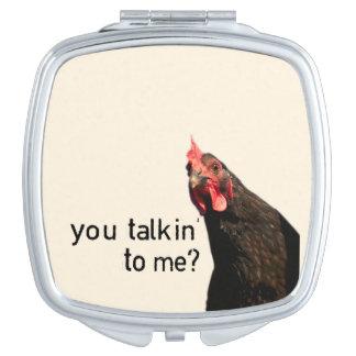 Lustiges Haltungs-Huhn Taschenspiegel