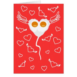 Lustiges Herz des Valentinstags mit Eier kundenspe Grußkarte