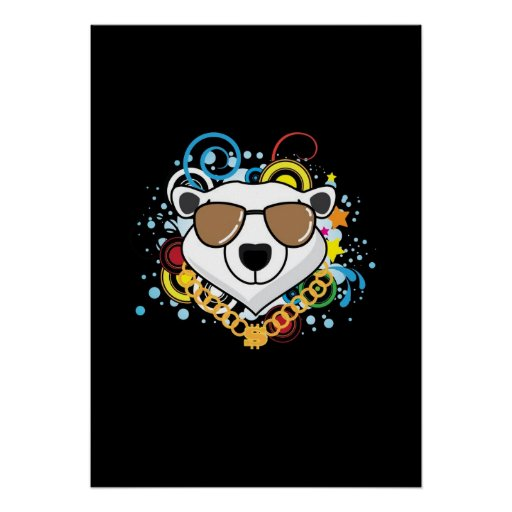 Lustiges Hip-Hop-Eisbär-Bild Plakate