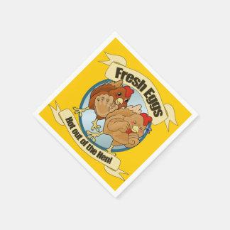 Lustiges Huhn-Ei-Logo Papierserviette