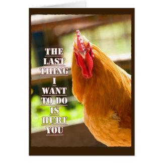 Lustiges Huhn, Hahn erhalten wohle Mitteilungskarte