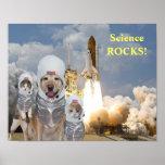 Lustiges Hunde-/Katzen-Astronauten-Wissenschafts-P Plakate