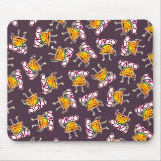 lustiges Illustrationsmuster der Taco-Cartoonart Mousepad