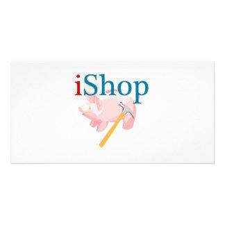 Lustiges iShop mit Piggybank und Hammer Bilderkarten