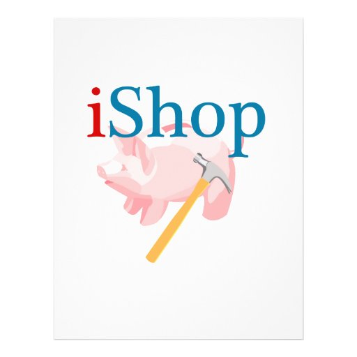 Lustiges iShop mit Piggybank und Hammer Flyerbedruckung