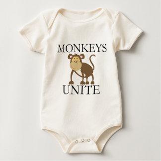 """Lustiges Jahr des Affen """"Affen vereinigen """" Baby Strampler"""