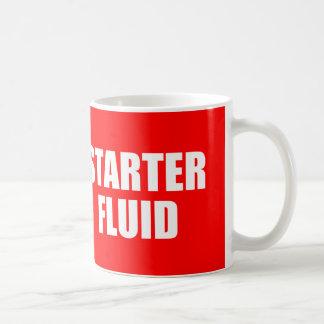 Lustiges Kaffee-Zitat: Starter-Flüssigkeit Kaffeetasse