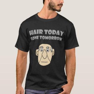 Lustiges kahles Typ-Haar-heute gegangenes morgen T-Shirt