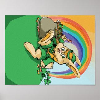 Lustiges kleines Heiliger Patrick-Kaninchen Poster