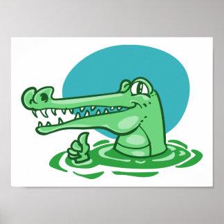 lustiges Krokodil gezeigter okayzeichen-Cartoon Poster