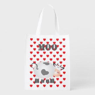 Lustiges Kuh-MOO und rotes Herz-Tupfen-Muster Wiederverwendbare Einkaufstasche