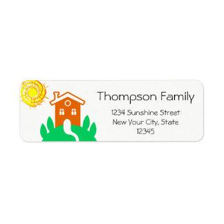 Lustiges kundengerechtes Familien-Zuhause Rücksendeetikett