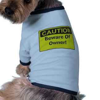 Lustiges kundenspezifisches Vorsicht-Zeichen Ringer Hunde-Shirt