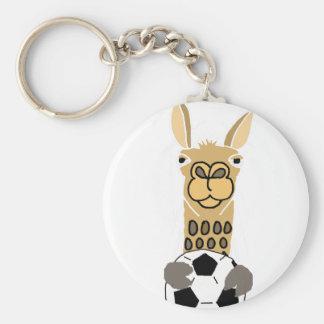 Lustiges Lama mit Fußball-Kunst Standard Runder Schlüsselanhänger