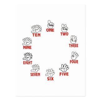 Lustiges Mathe: Zählung auf Händen und Fingern Postkarte