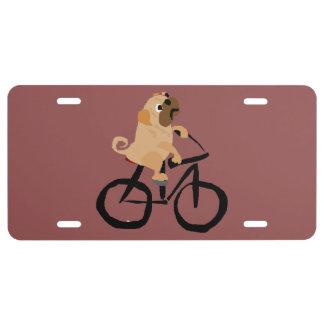 Lustiges Mops-Welpen-Hundereitfahrrad US Nummernschild