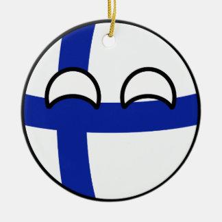 Lustiges neigendes Geeky Finnland Countryball Keramik Ornament