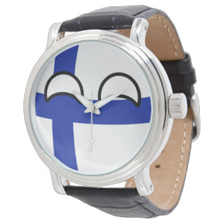 Lustiges neigendes Geeky Finnland Countryball Uhr