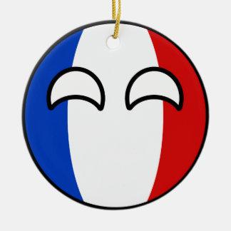 Lustiges neigendes Geeky Frankreich Countryball Keramik Ornament