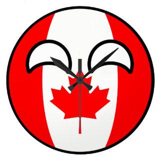 Lustiges neigendes Geeky Kanada Countryball Große Wanduhr