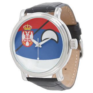Lustiges neigendes Geeky Serbien Countryball Uhr