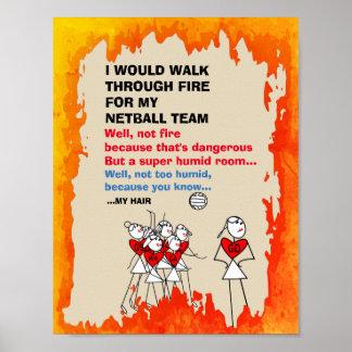 Lustiges Netball-Team-themenorientiertes Zitat Poster