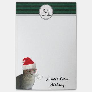 Lustiges niedliches Feiertagssankt-Katzenmonogramm Post-it Klebezettel
