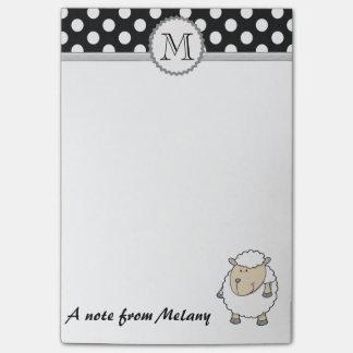 Lustiges niedliches girly Schafpolkapunktmonogramm Post-it Haftnotiz