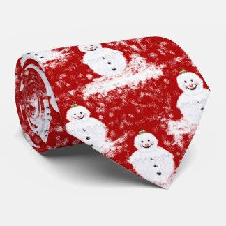 Lustiges, niedliches lächelndes Snowmans weiße und Personalisierte Krawatte